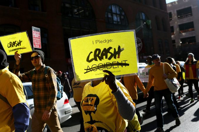 The traffic-safety group Families for Safe Streets staged a demonstration in November