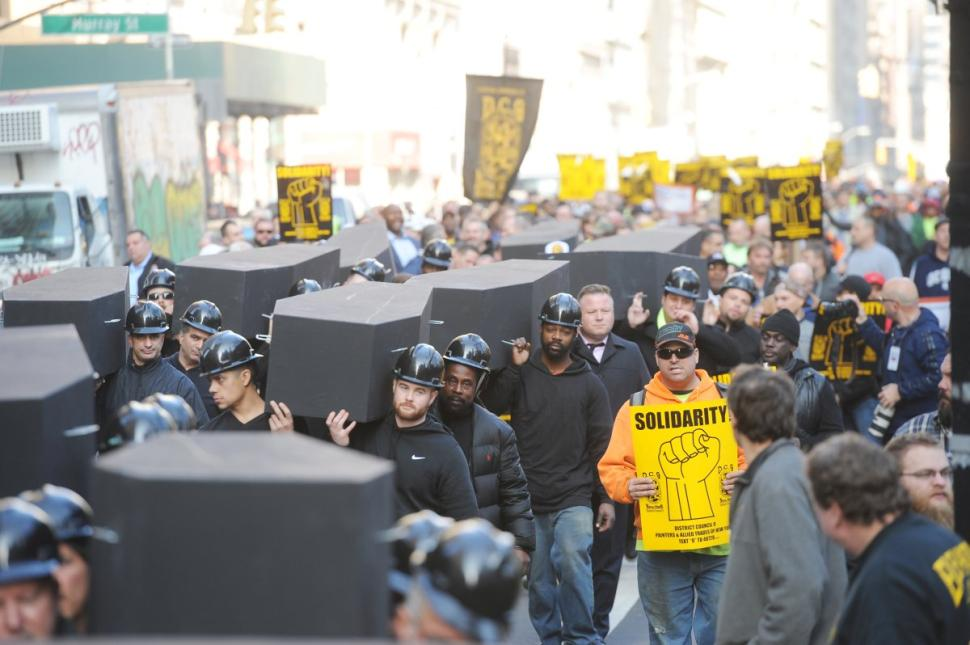 Rally with mock funeral procession calls for better safety at NYC's construction sites